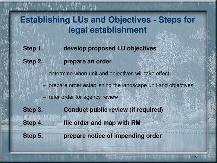 Establishing LUs and Objectives - Steps for legal establishment