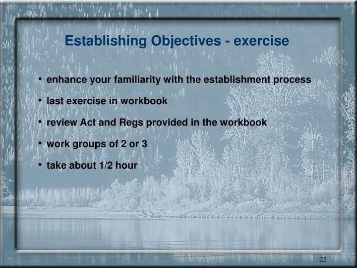 Establishing Objectives - exercise