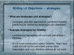 writing lu objectives strategies