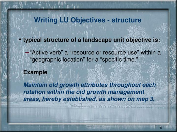 Writing LU Objectives - structure