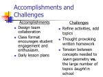 accomplishments and challenges