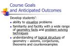 course goals and anticipated outcomes