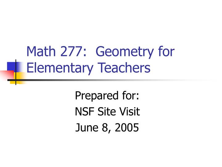 math 277 geometry for elementary teachers n.