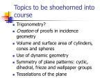 topics to be shoehorned into course