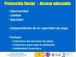 protecci n social acceso adecuado