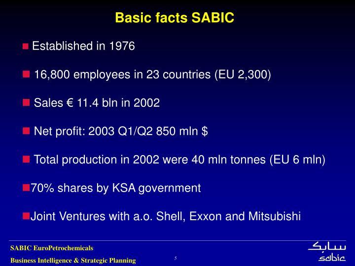 Basic facts SABIC