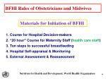 bfhi rules of obstetricians and midwives
