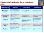 characteristics of good fiscal objectives rules