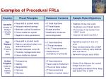 examples of procedural frls