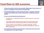 fiscal risks for see economies