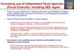 increasing use of independent fiscal agencies fiscal councils including see region
