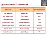types of numerical fiscal rules