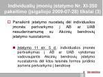individuali moni statymo nr xi 350 pakeitimo sigaliojo 2009 07 28 tikslai 3