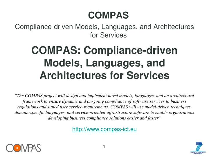 compas compliance driven models languages and architectures for services n.