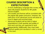 course description expectations