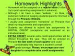 homework highlights