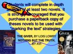 the giver by lois lowry nothing but the truth by avi