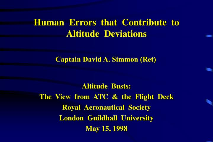 human errors that contribute to altitude deviations n.