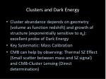 clusters and dark energy