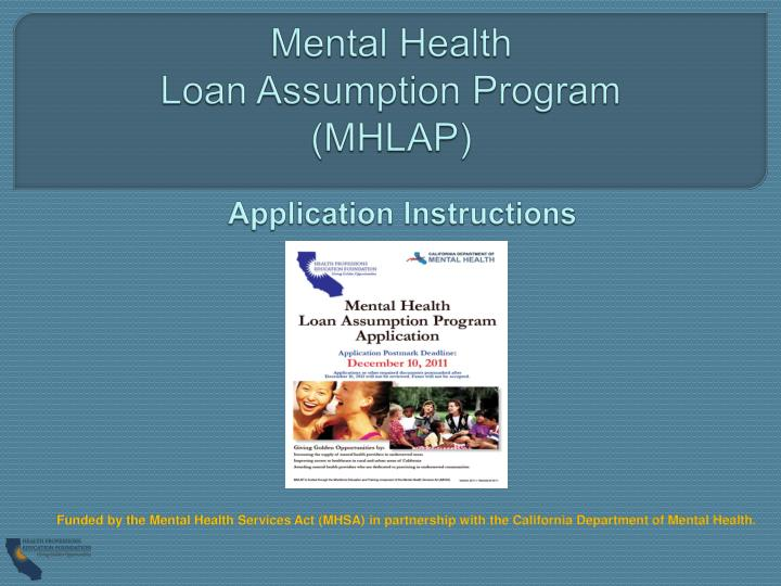 mental health loan assumption program mhlap n.