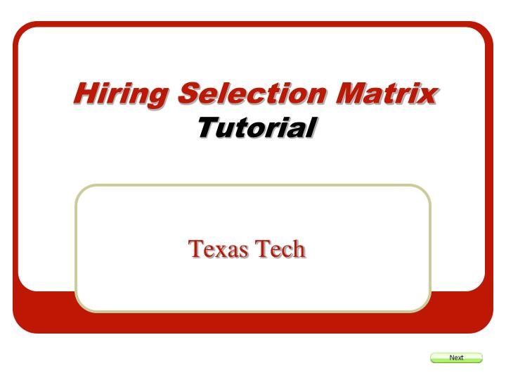 hiring selection matrix tutorial n.