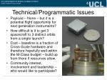 technical programmatic issues