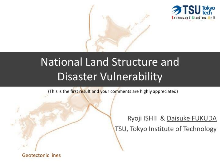 national land structure and disaster vulnerability n.