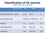 classification of as severity a esc b aha acc guidelines