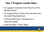 year 7 progress leader role
