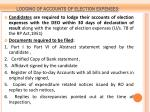 lodging of accounts of election expenses