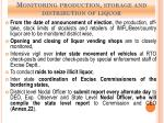 monitoring production storage and distribution of liquor