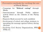 preventive methods for curbing the use of black money