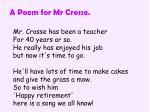 a poem for mr crosse