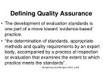 defining quality assurance