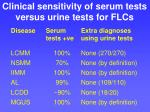 clinical sensitivity of serum tests versus urine tests for flcs