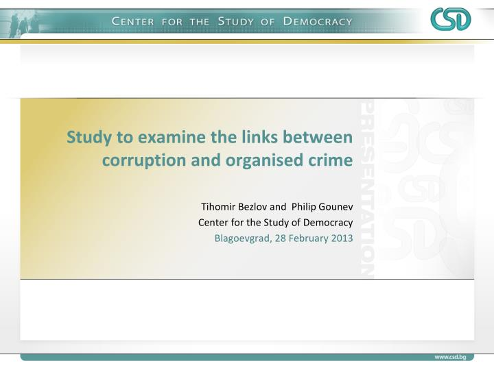 study to examine the links between corruption and organised crime n.