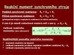 reak n moment synchronn ho stroje