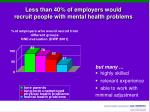 less than 40 of employers would recruit people with mental health problems