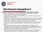 main scenario assumptions 2