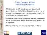 energy demand access and quality of supplies