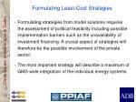 formulating least cost strategies