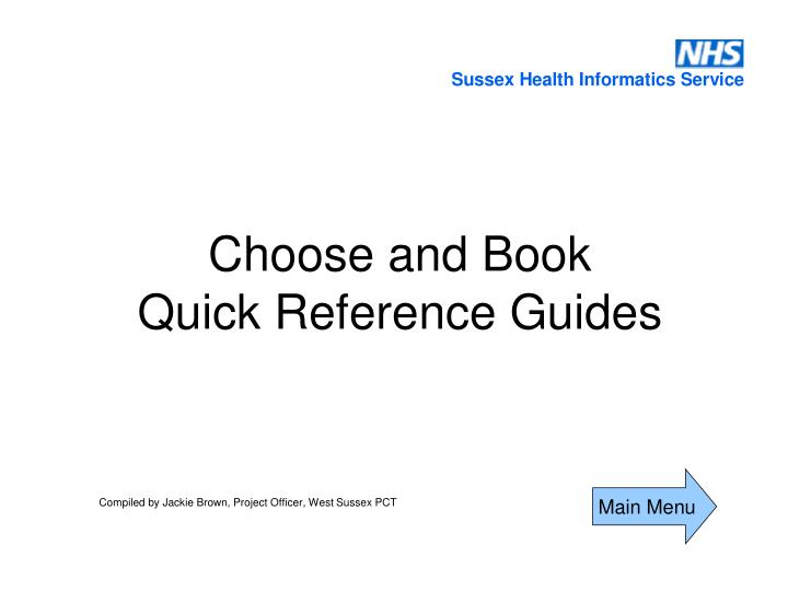 choose and book quick reference guides n.