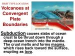 first type location volcanoes at convergent plate boundaries