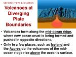second type location volcanoes at diverging plate boundaries