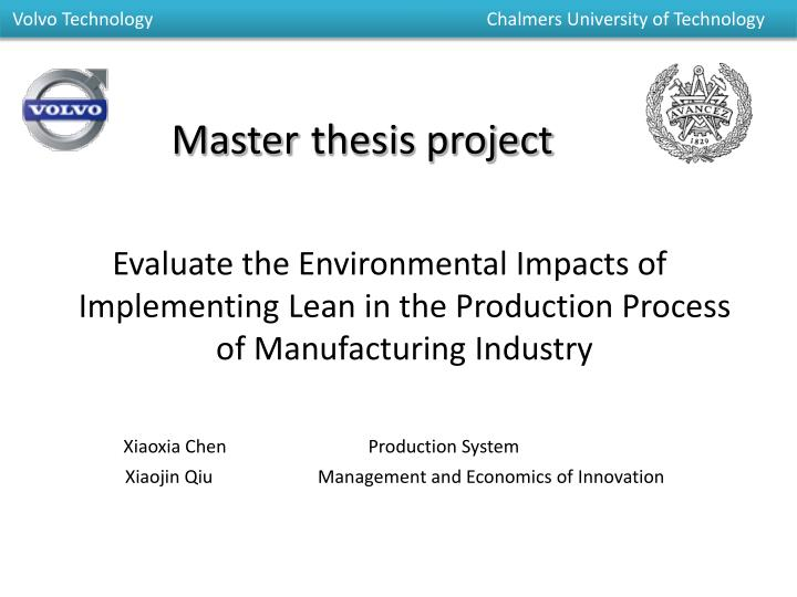 Master thesis project report