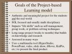 goals of the project based learning model
