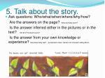 5 talk about the story