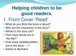 helping children to be good readers