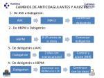 cambios de anticoagulantes y ajustes