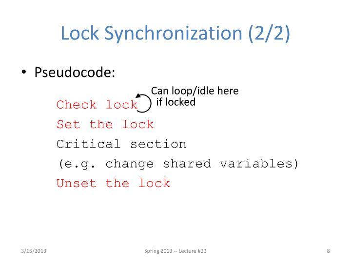 Lock Synchronization (2/2)